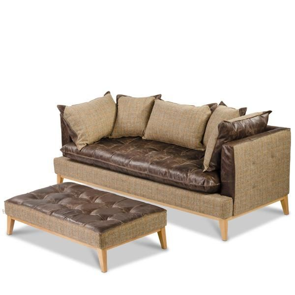 Portland Leather Harris Tweed Sofa Optional Footstool