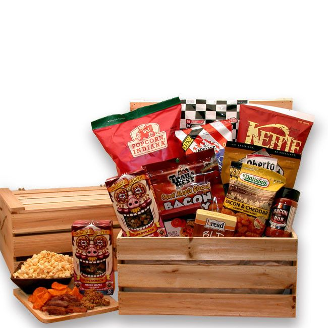 YES we said BACON ! A most unique gift basket idea for any bacon lover in your life. Real bacon jerky made from thick slab bacon, Snackle Mouth bacon maple clusters, BLT dip to eat with the Maple baco
