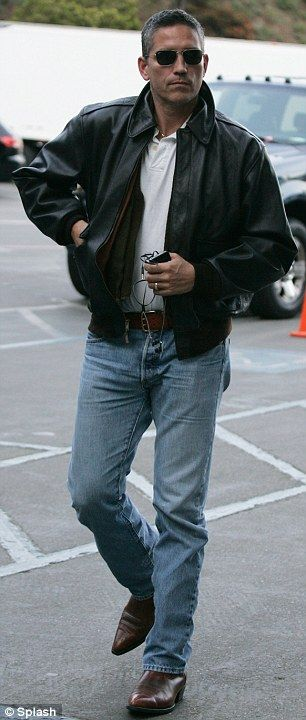 Jim Caviezel Booted and leather jacket...phowar  Never goes out of style...manly man.