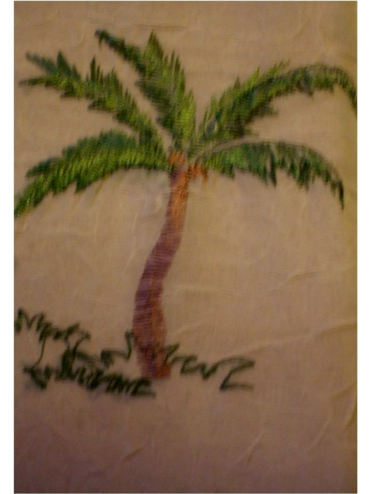 Embroidered Palm Trees Tropical Tablecloth Beige This fabric tablecloth is perfect for a tropical themed kitchen with embroidered palm trees. $24.95