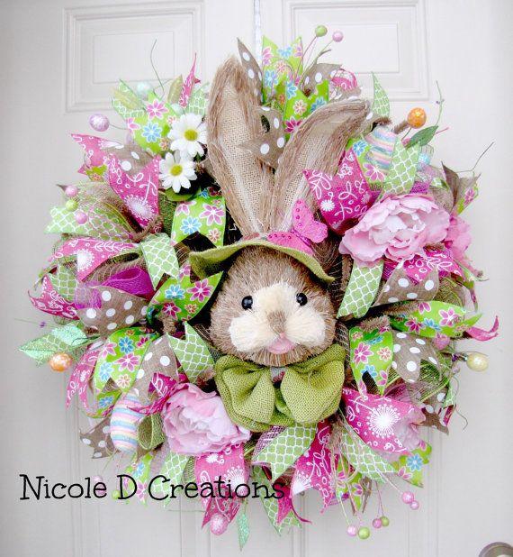 Easter Wreath Deco Mesh Wreath Front Door by NicoleDCreations