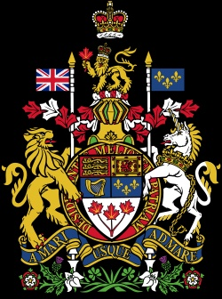 """The Royal Coat of Arms of Canada (originally adopted on November 21, 1921). The motto, """"A Mari Usque ad Mare"""", is Latin for """"From Sea to Sea""""."""