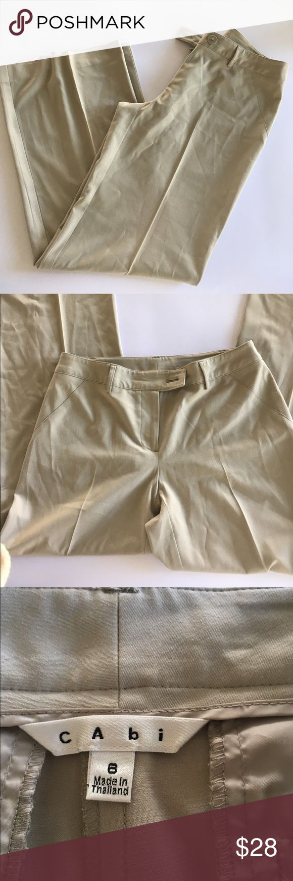 CAbi Dress Slacks Pants Trousers Beige Size 6 #831 These are  wide leg pant. Inseam measures 31 inches material is 63% polyester 33% viscose 4% spandex. CAbi Pants Boot Cut & Flare