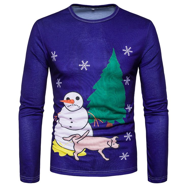 Ugly Men's Christmas 3D Printed T-shirt Long Sleeve Funny Tops Snowman Dog X mas - T-Shirts, Tank Tops