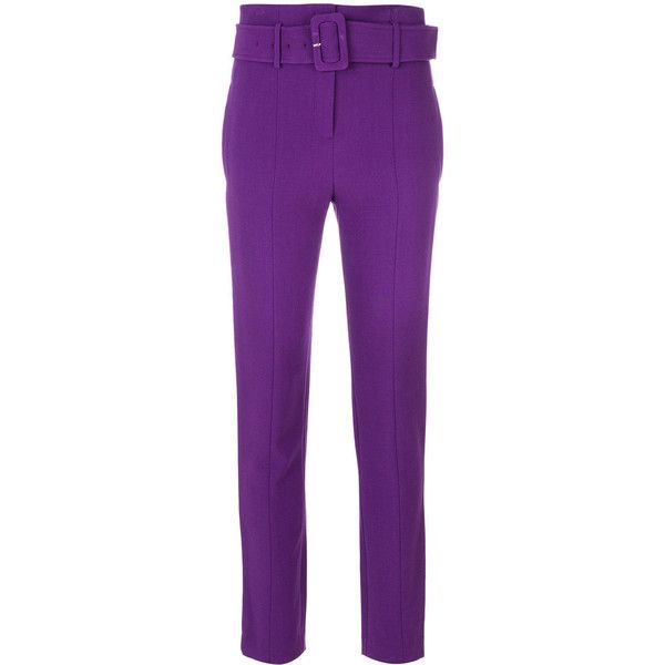 Theory belted high waist trousers ($485) ❤ liked on Polyvore featuring pants, purple, theory pants, high rise trousers, high waisted pants, theory trousers and purple pants