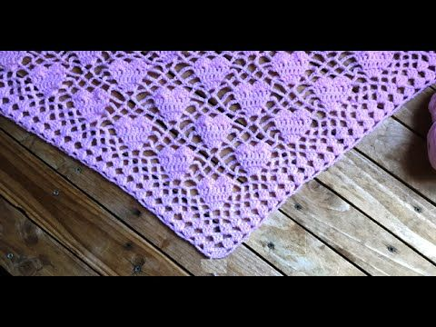 Crochet : Châle cœur crochet / chal tejido a crochet con motivos de corazones - YouTube