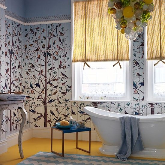 Bathroom Decorated With Statement Wallpaper | Family Bathroom Design Ideas  | Bathroom | PHOTO GALLERY |