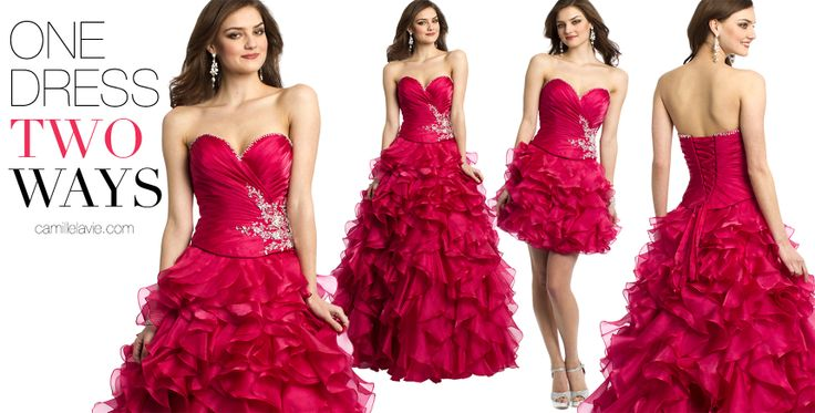 Camille La Vie Corset Ball Gown Prom Dress with Tiered Skirt - two dresses in one