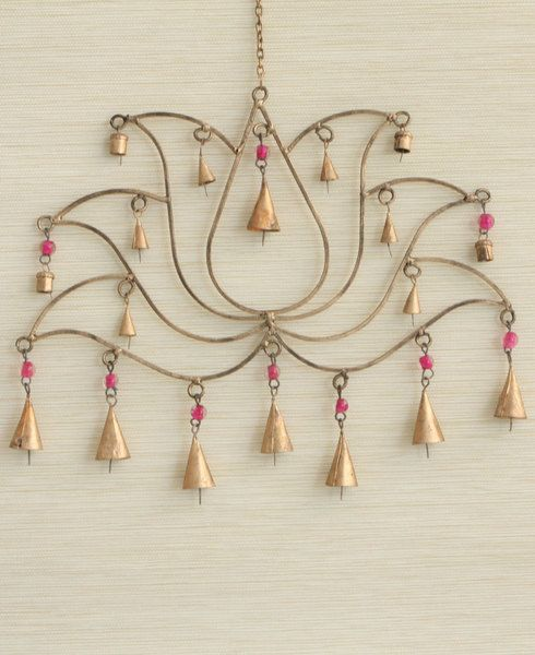Lotus wind chime made with traditional Indian bells to create lovely music for the home. Fair trade. Made in India.