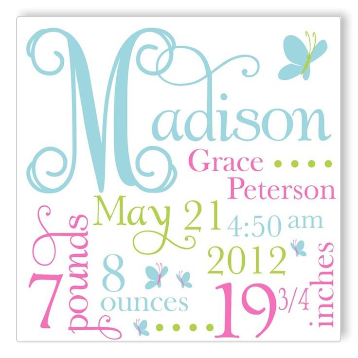 Personalized Canvas Birth Announcement - great gift idea!
