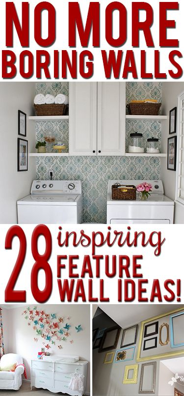 Creative, budget-friendly ideas to decorate a blank wall. LOVE these brilliant, inexpensive projects!