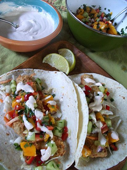 Tofu Tacos With Mango Salsa. Crispy, savory, spicy, creamy. Could also substitute tofu with chicken or pork