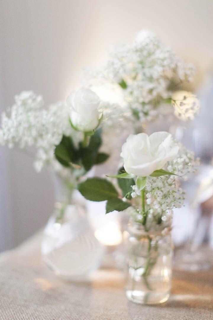 Elegant Hochzeit Schleierkraut Rosen DIY Tischdeko