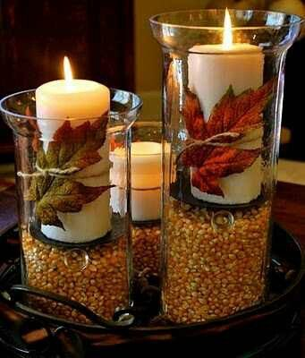 Such a great display: Fall Decoration, Thanksgiving Decoration, Holidays, Tables Decoration, Fall Tables, Fall Candles, Centerpieces, Centers Piece, Fall Idea