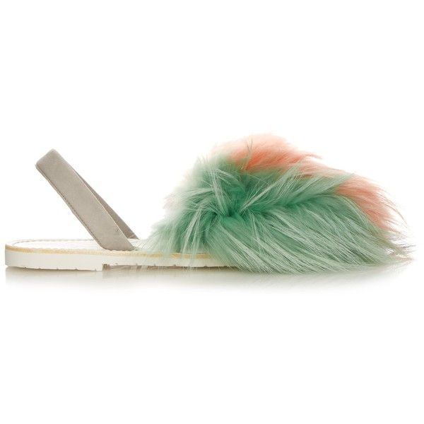 del Rio London Tri-colour raccoon-fur sandals found on Polyvore featuring shoes, sandals, coral, multicolor shoes, multi colored shoes, colorful sandals, multi coloured sandals and colorful shoes