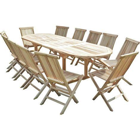 Salon de jardin en teck HENUA 12 chaises