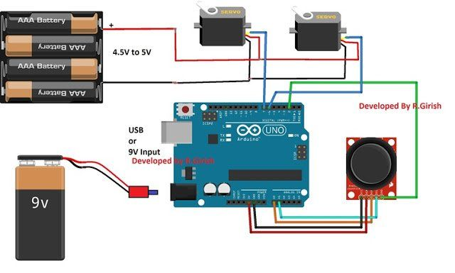 Arduino Servo Motor Control circuit Using Joystick and 9V battery