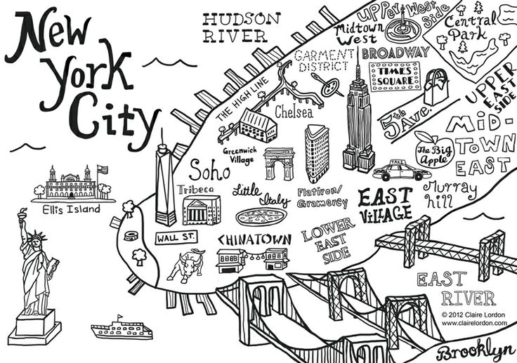 Claire Lordon Illustration and Design: New York City Map Illustration and Wall Decal