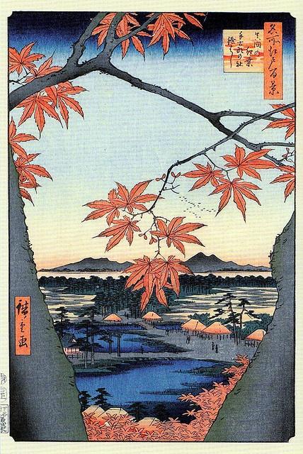 Utagawa Hiroshige  Aceri a Mama, ponte annesso del santuario di Tekona (Mama no momiji Tekona no yashiro tsugihashi).
