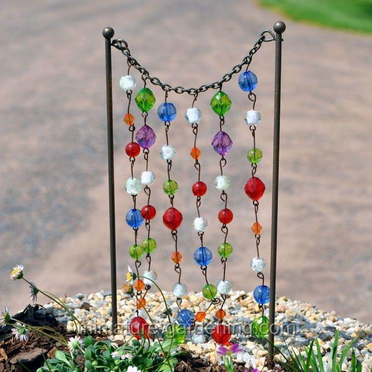 Miniature Gardening - Beaded Curtain  #fairy #gardens