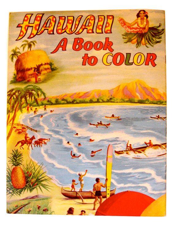 vintage pre statehood hawaii coloring book saalfield by lesaet 3400 - Hawaii Coloring Book