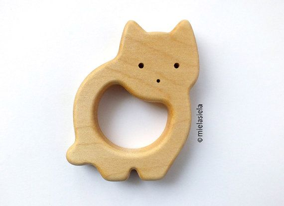 Organic Wooden Teether by mielasiela on Etsy