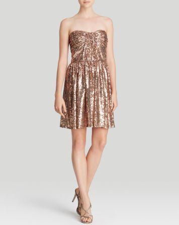 Jill Jill Stuart strapless sequined gold dress