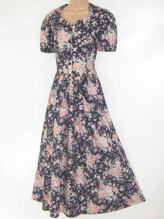 LAURA ASHLEY Vintage Rose Blush Summer Bouquet Tea Dress UK