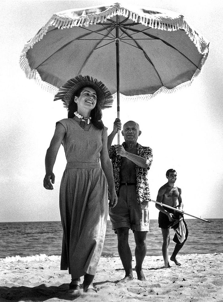 Pablo Picasso and Françoise Gilot and Picasso's nephew, Javier Vilato - By Robert Capa