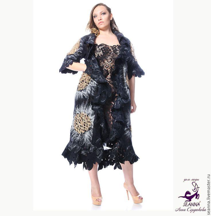 """Купить Роскошное пальто валяное """"Золотые подсолнухи"""" в любом цвете и размере - пальто"""