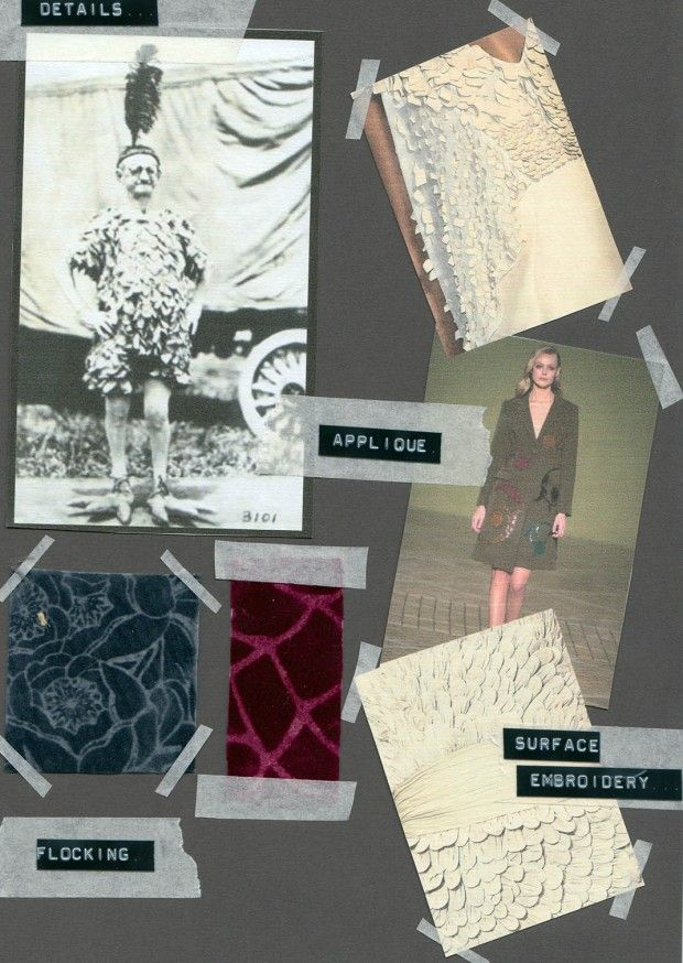 Emma Moss - fashion & textiles sketchbook - final collection details and print swatches