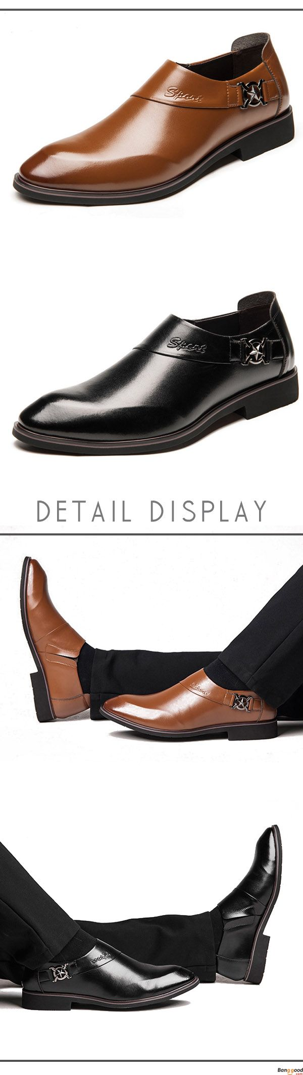 Men Comfy Soft Leather Pointed Toe Business Formal Shoes. Fashion and chic. Shop at banggood with super affordable price.