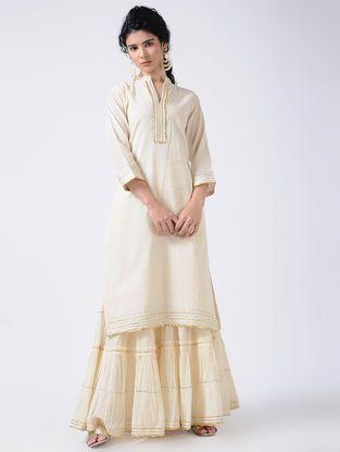 c833863846bc6 Ivory Gota Cotton Kurta with Sharara and Dupatta (Set of 3 ...
