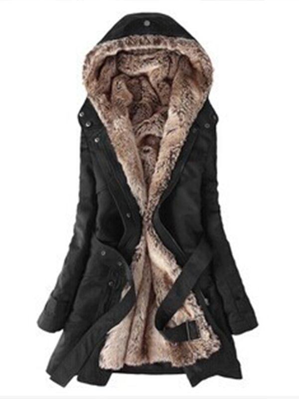ファッション全3色フード付きポケット付きスリム冬暖かいアウターコート - レディースファッション激安通販 20代·30代·40代ファッション