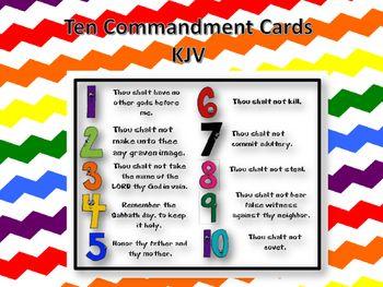 Ten Commandment Printable Cards - KJV   Printable cards ...