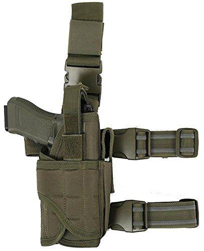Ultimate Arms Gear Tactical OD Olive Drab Green Adjustable Tornado Drop Leg Ruger PistolGun w Light Or Laser Holster  Magazine Pouch ** For more information, visit image link.
