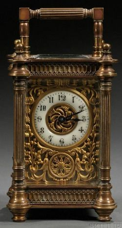 Carriage Clock; French, Bronze, Beveled Glass, Floral Filigree, 5 inch.