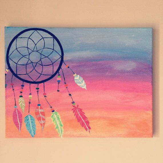 Best 25 dream catcher painting ideas on pinterest dream for Black canvas painting ideas
