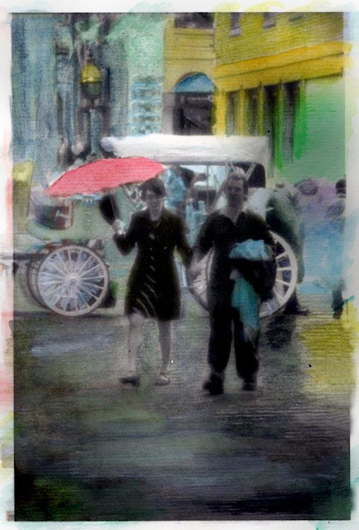 Red umbrella in downtown boston hand colored photograph