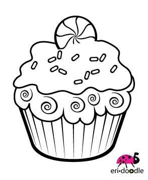 Christmas peppermint cupcake digistamp digi stamp for scrapbooking or cards
