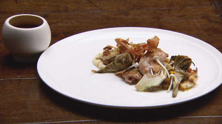 Grilled Quail with Artichokes, Mushroom Panzanella and Red Wine Jus http://masterchefrecipe.net/grilled-quail-with-artichokes-mushroom-panzanella-and-red-wine-jus/