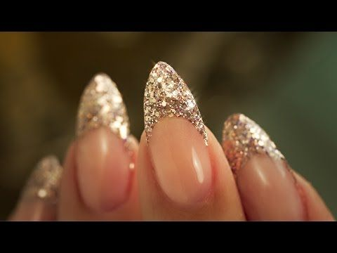 French Almond Glitter - Traditional French Acrylic Nail Technique - Step By Step Tutorial - YouTube