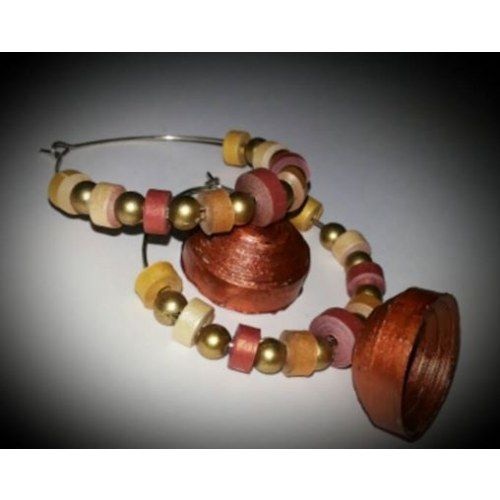 metallic bronze Big ring jumka  earing   paper  quilling eco friendly   - Online Shopping for Earrings by Eco jewellery