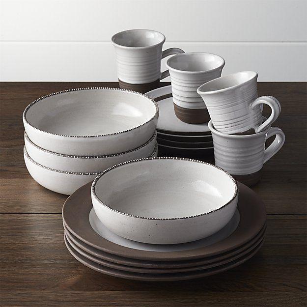 Studio Dark Clay 16-Piece Dinnerware Set | Crate and Barrel