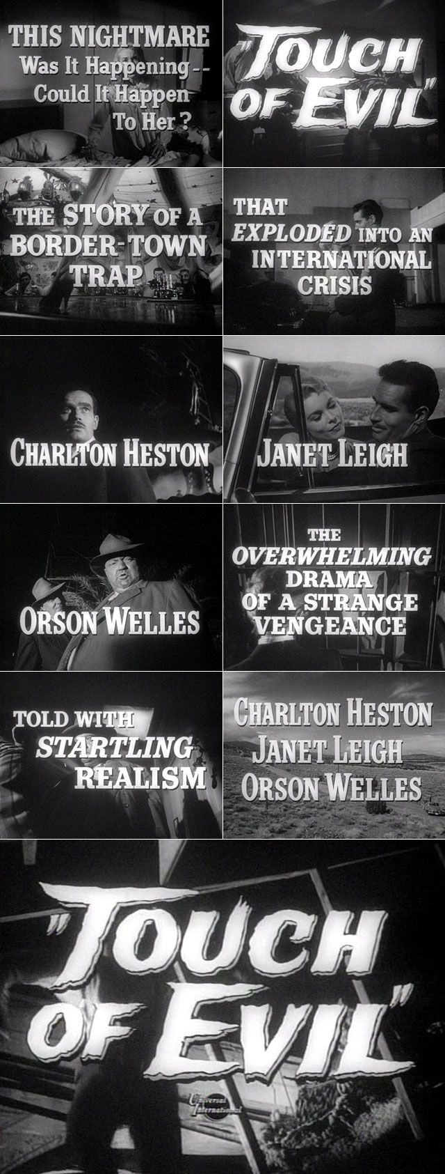Touch of Evil (1958) Film noir movie trailer typography #filmnoir #1950s #noirvember