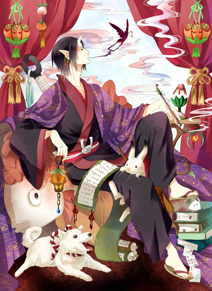 Hoozuki no Reitetsu ~~ Incredibly detailed image of our favorite bureaucrat and Shiro