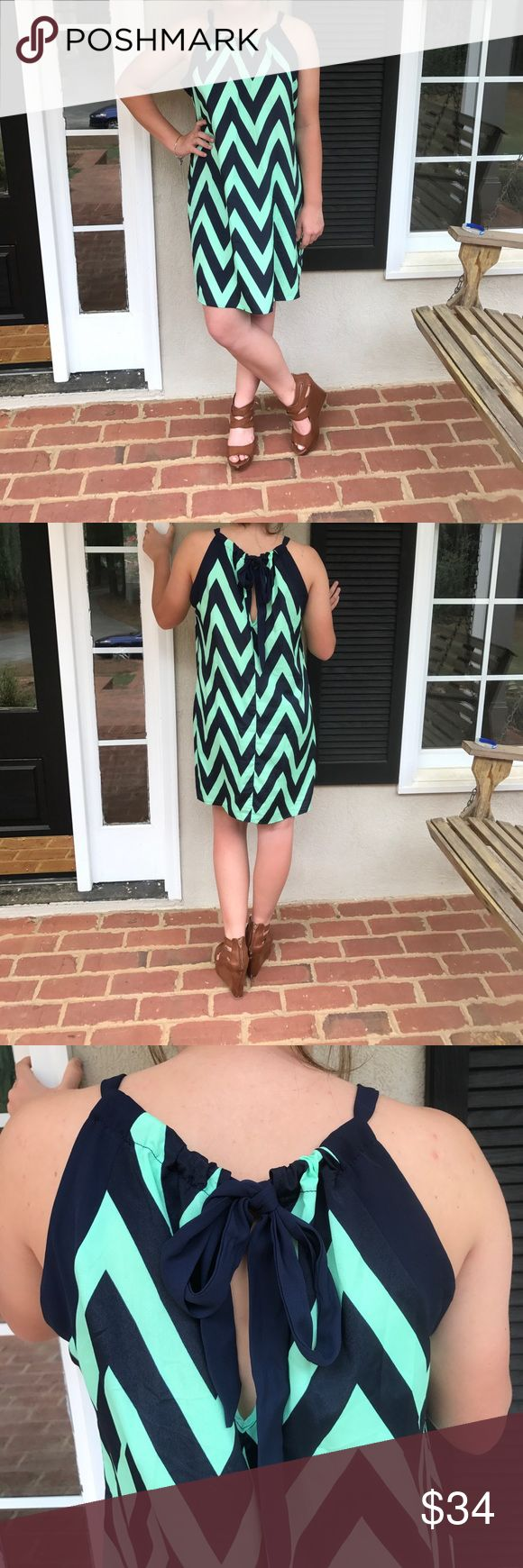 Mint and navy chevron shift dress Mint and navy chevron Anthropologie Dresses