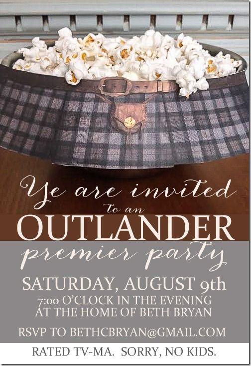 OUTLANDER PREMIER PARTY INVITATION  #PutAKiltonit