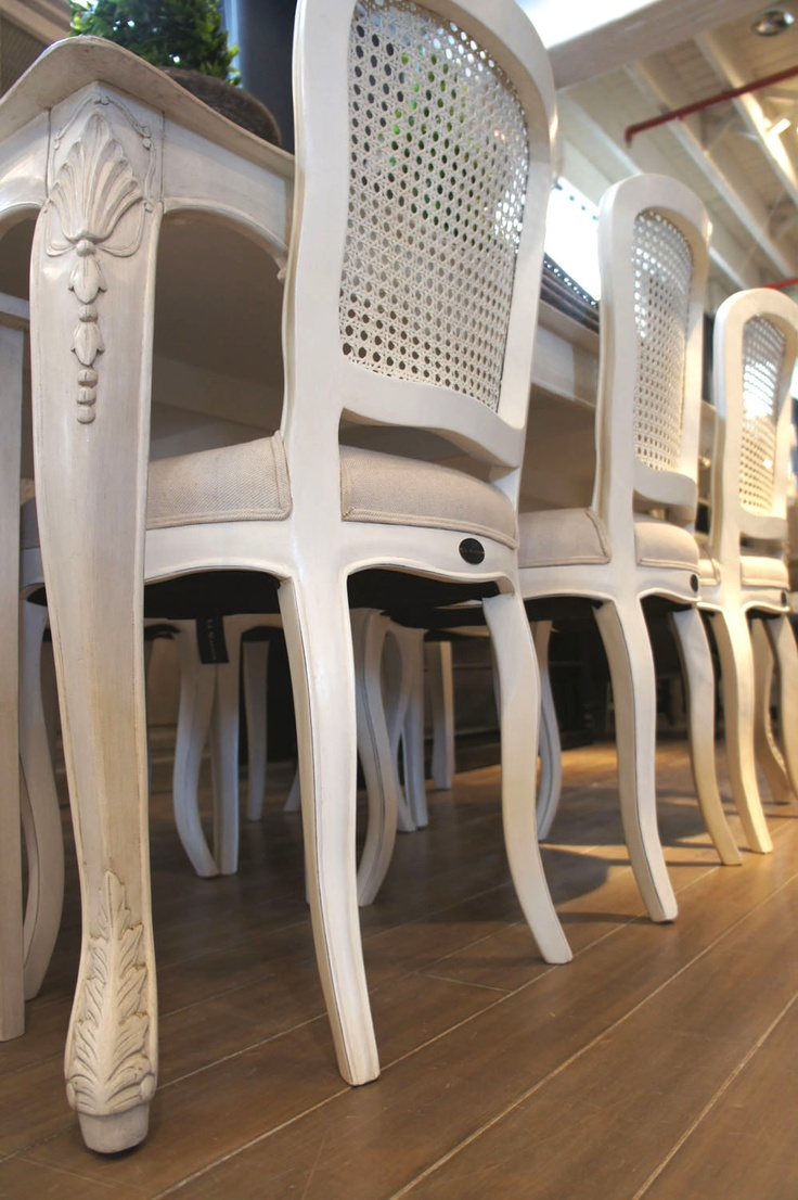 Antique upholstered chair styles - Our Lenoir Dining Chairs In Antique White With Rattan Back And Natural Upholstery Are The Perfect