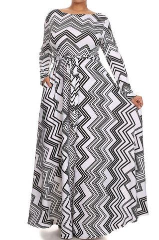 Plus Size Chevron Printed Maxi Dress, , MAXI, vendor-unknown, Elohai Plus Size Boutique - 1